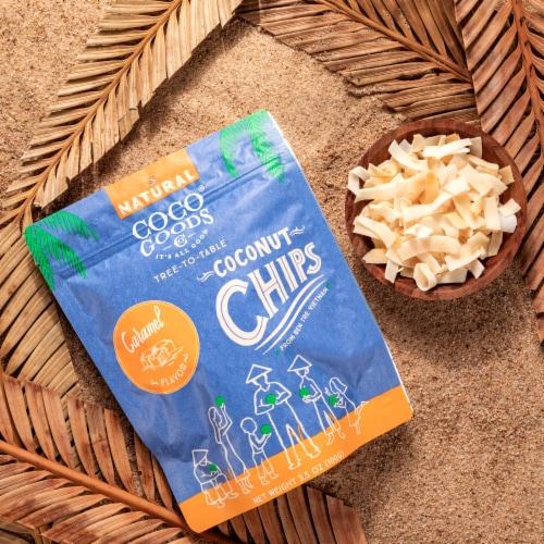 Natural Coconut Chips Caramel 3.5 oz, Zip lock Bag Perspective: top