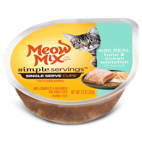 Meow Mix Simple Servings Real Tuna Ocean Whitefish in Sauce Wet Cat Food Perspective: top