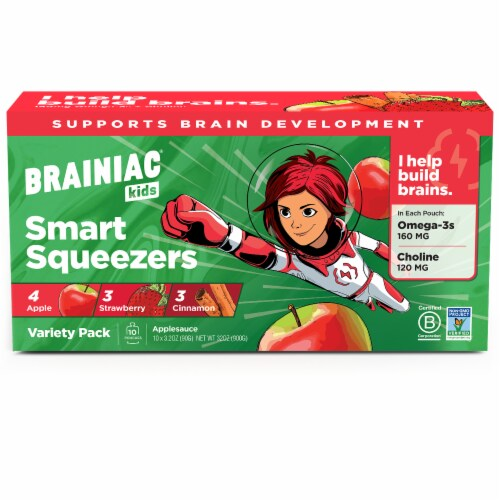 Brainiac Omega-3 Smart Applesauce Variety Pack, No Added Sugar, 10 Count Perspective: top