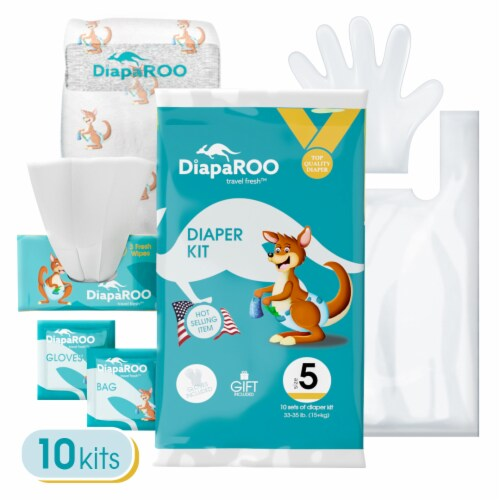 Diaper Changing Travel Kit Bulk Pack, 10 Kits Included, Size 1 Perspective: top