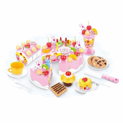 Birthday Cake Play Food Set Pink 75 Pieces Plastic Kitchen Cutting Toy Pretend Play Perspective: top