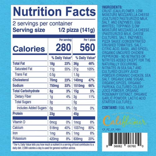 Cali'flour Foods Uncured Chicken Pepperoni Pizza Perspective: top