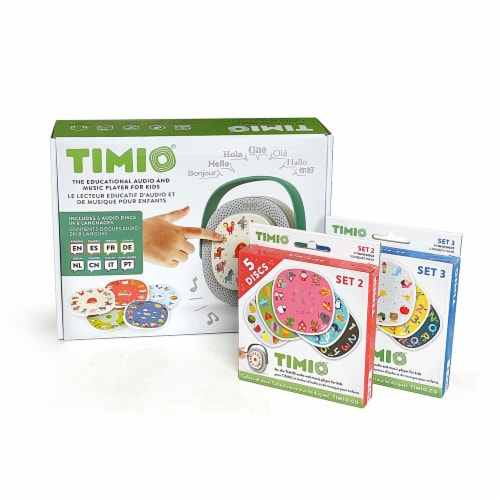TIMIO Screenless Educational Audio and Music Player + 2 Disc Packs (15 discs total) Perspective: top