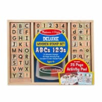 Melissa And Doug Wooden Deluxe ABC 123 Stamp Set - 1 Unit