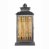 Heather Ann Creations W70194 28 in. Clayton Metal & Bamboo Lantern, Black & Natural