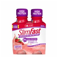 SlimFast Advanced Nutrition Strawberries & Cream Meal Replacement Shakes - 4 bottles / 11 fl oz