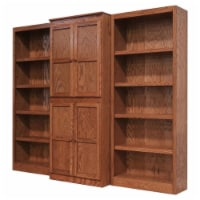 Traditional 72  Tall 15-Shelf Wood Bookcase Wall with Doors in Dry Oak - 1