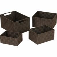 Home Impressions 4-Piece Woven Storage Basket Set, Brown 748113-BR - 1