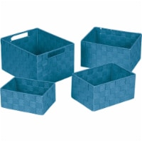 Home Impressions 4-Piece Woven Storage Basket Set, Blue 748113-BL - 1