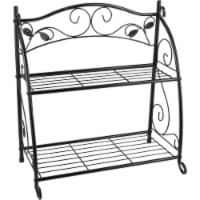 Best Garden Black Powder-Coat Steel 24 In. H. 2-Shelf Indoor/Outdoor Plant Stand