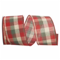 Reliant Ribbon 92972W-985-40F Holiday Check Value Wired Edge Ribbon - Red & Green - 2.5 in. x