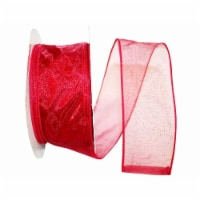 Reliant Ribbon 99910W-220-40K Sheer Glitz 2 Value Wired Edge Ribbon - Rose Red - 2.5 in. x 50 - 1