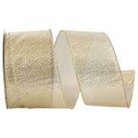Reliant Ribbon 92700W-035-40H Lame Glimmer Wired Edge Ribbon - Gold - 2.5 in. x 20 yards - 1