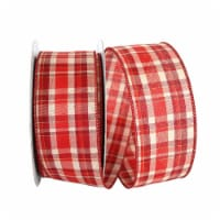 Reliant Ribbon 92684W-065-40K Plaid Prime Value Wired Edge Ribbon - Red - 2.5 in. x 50 yards - 1