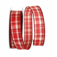 Reliant Ribbon 92684W-065-09K Plaid Prime Value Wired Edge Ribbon - Red - 1.5 in. x 50 yards - 1