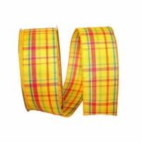 Reliant Ribbon 92577W-079-40K Breezeway Plaid Value Wired Edge Ribbon - Yellow - 2.5 in. x 50