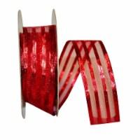 Reliant Ribbon 92311W-065-09K Metallic Stripe Value Wired Edge Ribbon - Red - 1.5 in. x 50 ya