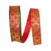 Reliant Ribbon 92303W-600-09K Interlock Value Wired Edge Ribbon - Red & Lime - 1.5 in. x 50 y