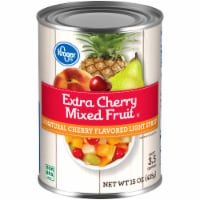 Kroger®  Extra Cherry Mixed Fruit in Natural Cherry Flavored Light Syrup Can - 15 oz