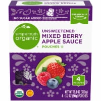 Simple Truth Organic® Unsweetened Mixed Berry Apple Sauce Pouches - 4 pouches / 3.2 oz