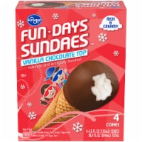 Kroger® Fun Days Sundaes Vanilla Chocolate Top Cones 4 Count