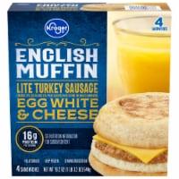 Kroger® Lite Turkey Sausage Egg White & Cheese English Muffin - 4 ct / 19.2 oz