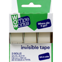 Office Works Invisible Tape - 3 Pack - Clear