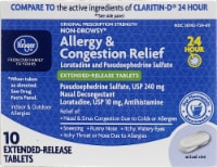 Kroger® 24 Hour Allergy and Congestion Relief Tablets