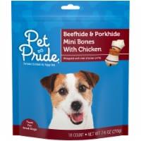 Pet Pride™ Beefhide & Porkhide Mini Bones with Chicken Dog Treats