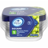 Kroger® Small Square Storage Containers with Lids - 5 pk - Clear/Blue
