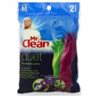 Mr. Clean Medium Duet Premium Latex Gloves 2 Pack - Green/Purple