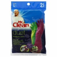 Mr. Clean Duet Premium Latex Gloves - Green/Pink - Large