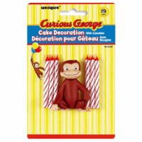 Curious George Cake Decoration with 6 Candles - 1