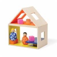 Manhattan Toy MiO Eating Place + 2 Bean Peg Dolls Montessori Style Wooden Building Playset - 1 Each