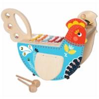 Manhattan Toy Musical Chicken Wooden Toddler Instrument Maraca, Cymbal, Washboard & Xylophone