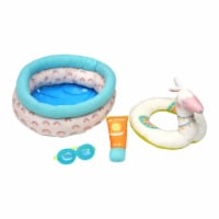 """Manhattan Toy Stella Pool Party 4 Piece Baby Doll Pool Playset for 12"""" and 15"""" Dolls"""