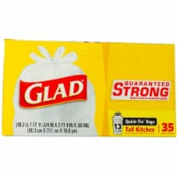 Glad Quick Tie Tall Kitchen Bags - 35 ct / 13 gal