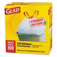 Clorox 78526 Tall-Kitchen Drawstring Bags, 24 x 27.38, 13gal, .95mil, White, 100-Box - 1