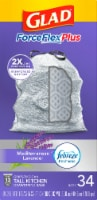 Glad ForceFlex Plus Mediterranean Lavender Scent Tall 13 Gallon Kitchen Drawstring Trash Bags