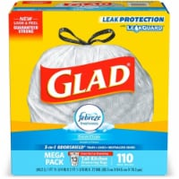 Clorox CLO78563 13-gal Glad Febreze Fresh Kitchen Bags - 110 per Box