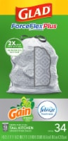Glad ForceFlex Plus Gain Original Scent with Febreze Freshness Tall 13 Gallon Kitchen Trash Bags