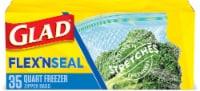Glad® Flex'nseal Quart Freezer Storage Bags - 35 ct