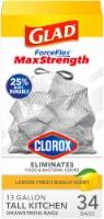 Glad ForceFlex Plus Lemon Fresh Bleach Scent Tall 13 Gallon Kitchen Trash Bags
