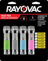 Rayovac Aluminum Glow in the Dark Flashlight with Batteries Value Pack - Green/Pink