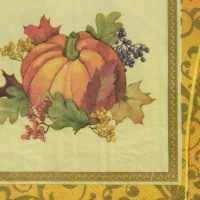 Amscan 521842 Autumn Bountiful Holiday Dinner Napkins - Pack of 3 - 3