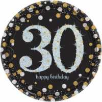 Amscan 269891 Sparkling 30th Celebration Plate 7 in. Dessert Plates - 8 Piece