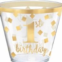 Amscan 350254 Premium First Birthday Round 9 oz. Pink Premium Plastic Tumblers - 30 Piece