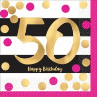 Amscan 269825 Pink & Gold 50th Birthday Beverage Napkins - 16 Piece