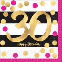 Amscan 269804 Pink & Gold 30th Birthday Lunch Napkins - 16 Piece