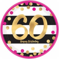 Amscan 269835 Pink & Gold 60th Birthday 9 in. Metallic Plates - 8 Piece - 8